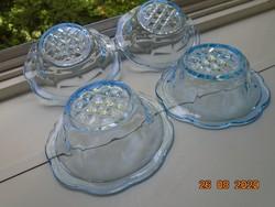 Szecessziós vastagfalú dombormintás hullámos peremű kék üveg kompótos tál 4 db