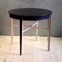 Vintage stílusú zsúrasztal, elegáns szalonasztal, kisasztal natúr- fekete színben