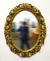 1B567 Antik hatalmas ovális florentin tükör 132 x 102 cm