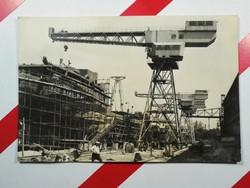 Régi képeslap levelezőlap - GANZ MHD Magyar Hajó és Darugyár - daru toronydaru - 1950-1970-es évek