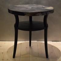 Kerek antik vintage loft stílusú kisasztal, fekete, viaszos fényű, dekopázs lappal