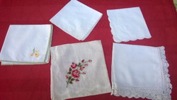 Kézimunkás Szép zsebkendők- himzett,rátétes,toledós,horgolt szeg.-használatra is