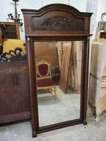 Antik nagy méretű tölgyfából készült falitükör csiszolt tükörrel