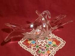 403 Hatalmas különleges formájú üveg asztalközép kínáló üveg tál  37x12x15 cm