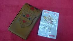 Retro bőr kártyadoboz-kártyatartó +Joker kártya-ajándékba is