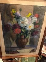 Nagy Pál, festménye, vegyestechnika, 45 x 65 cm-es, csendélet.