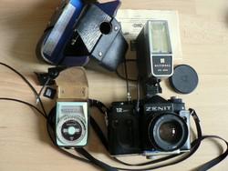 ZENIT 12 XP, Helios 44M-4 objektívvel,National vaku, Leningrad 4 fénymérő, adapterek szép gépállapot
