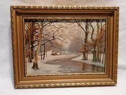 Egyed Imre 1976 havas erdőbelső festmény
