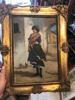 Olasz hölgy , olaj, vászon festmény, 30 x 40 cm-es, Varga? szignóval.