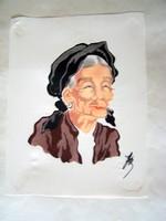 Kínai selyemkép festmény portré /szignózott/