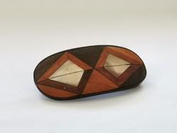 Vintage fa / gyöngyház hajcsat geometriai mintás