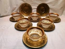 6 db régi 24 k arany Moser kristály hatalmas csésze réz alátéttel