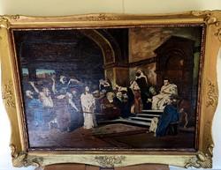 Munkácsy Mihály ? Krisztus pilátus előtt olaj vászon 80x60