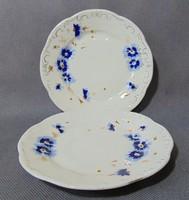 Búzavirág mintás Zsolnay desszertes tányér párban