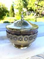 Antik üvegbetétes fém cukortartó