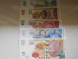 Dél Afrikai Közt 10-20-50-100-200 rand 2005 UNC Ritka!