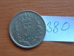 LUXEMBURG 5 FRANK 1987 IML Jean I nagyherceg # 380