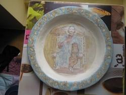 Régi, vallásos kerámia tál, tányér, 33 cm A/ 18