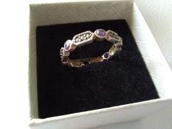 Különleges markazit ametiszt köves ezüst gyűrű
