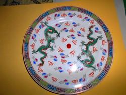 Kínai sárkány motívummal kézzel festett dísztányér 22  cm