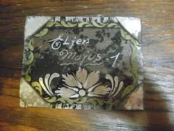 """Retro """"Éljen május 1"""" feliratos, üvegre kézzel festett tükrös kép, dísz"""