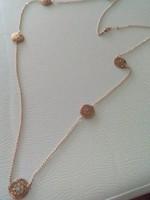 Hosszú rose aranyozott ezüst nyaklánc /120 cm/