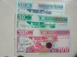 Namíbia 10-50-100 dollár 1993 UNC Nagyon Ritka!