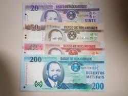 Mozambik 20-50-100-200 meticais 2006 UNC Papír Ritka!