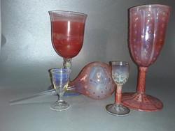 Kézműves üveg pohár poharak és virág locsoló jelzetlen Herczeg István üvegművész munkái