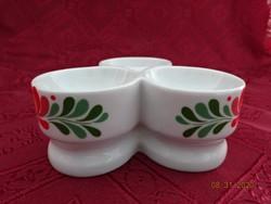Hollóházi porcelán fűszertartó, nemzeti színű népi motívummal.