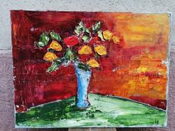 Virágcsendélet festmény spaklival, oéaj-vászon