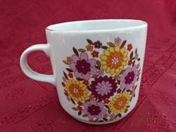 Alföldi porcelán, rózsaszín/sárga virágos bögre.