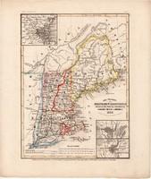 Main, New Hampshire, Massachusetts, Vermont térkép 1850, eredeti, német, atlasz, 27 x 32 cm, Amerika