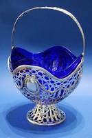 Neobarokk ezüst gyümölcskosár kobaltkék üvegbetéttel