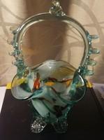 Muránói jellegű üveg kosár váza hibátlan 17 cm