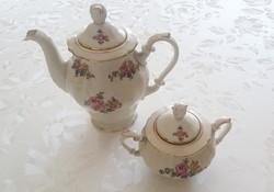 Pirken hammer kávés kiöntő porcelán rózsás kávéskanna cukortartó 2 db