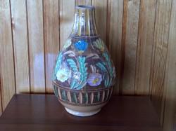 Színes, virágos, dombormintás, nagyméretű arab váza