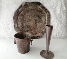 Ezüstözött ALPAKKA szett (váza,tálca,jégvödör)
