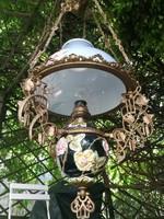 Antik csillár, festett búra,làmpa, 100 éves lüszter majolika!Luxus a Szecesszió,korából.