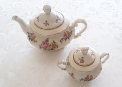 Pirken hammer teás kiöntő porcelán rózsás teáskanna cukortartó 2 db