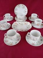 197 6 személyes csodás virág mintás Azrberg kávés készlet tálakkal és + tányérokkal