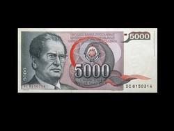 UNC - 5000 DINÁR - JUGOSZLÁVIA - 1985 !!