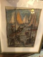 André Szőcs eredeti festménye, 25 x 35 cm-es, gyűjtőknek