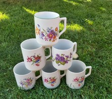 6 db Zsolnay virágos bögre, bögrék, Bögre Gyűjtemény,  Ibolyás,Nosztalgia darab, paraszti dekoráció