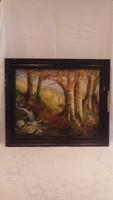 Erdőbelső patakkal olaj-farost festmény keretezve