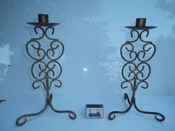 Metal - 2 pcs - large - antique candle holder with gold 30 x 16 cm - beautiful - flawless