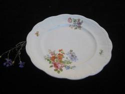 Zsolnay   régi   lapos tányér   , szép mezei  virágokkal  , 244 mm