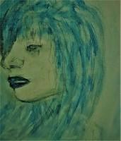 """Kata Szabo: """"portrait-woman in renaissance style"""" acrylic, canvas, 40 x 30 cm, signed"""