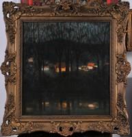 Ismeretlen művész: Alkonyi folyópart, 1900 k.