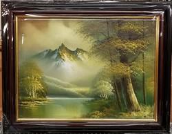 Meseszép, jelzett  romantikus tájkép, csodaszép, új keretben, km:39 x 49
